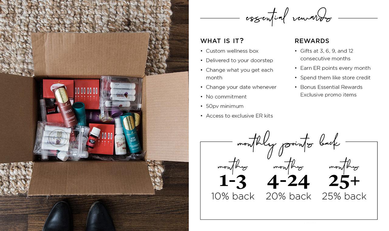 Essential rewards subscription box with description